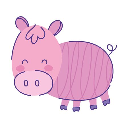 cute pig animal cartoon doodle color on white background