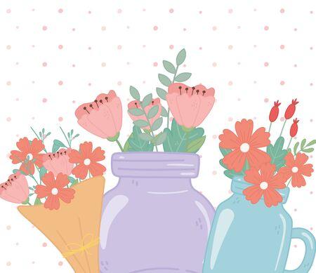 mason jars and bouquet flowers floral foliage decoration vector illustration