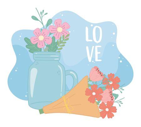 mason jar and bouquet flowers romantic decoration vector illustration Ilustração