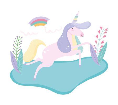 unicorn running grass rainbow flower fantasy magic cute cartoon vector illustration