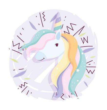 unicorn rainbow hair decoration fantasy magic cute cartoon vector illustration
