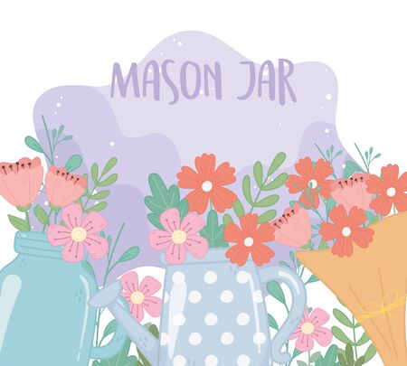 mason jar bouquet and watering can with flowers foliage decoration ornament vector illustration