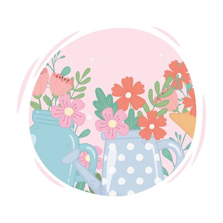 mason jar and watering can with flowers decoration ornament vector illustration