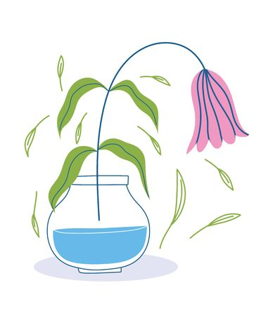 wilted flower in vase foliage leaves decoration botany Ilustração