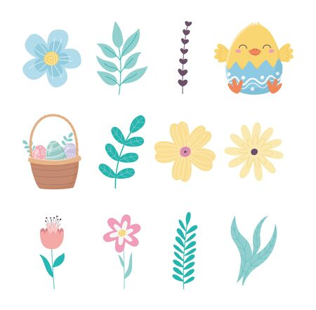 happy easter day chicken eggshell flowers basket foliage icons vector illustration Vektoros illusztráció