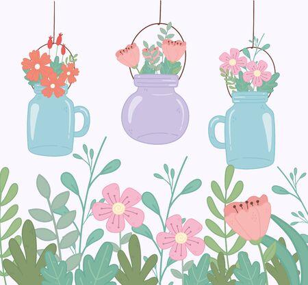 mason jars with flowers foliage decoration