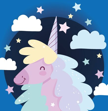 unicorn stars clouds fantasy magic cute cartoon vector illustration