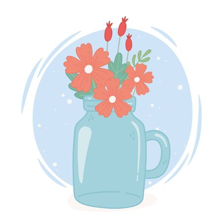 mason jar flowers decoration with handle ornament vector illustration