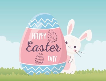 happy easter cute rabbit and egg with lettering decoration