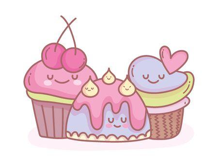 jelly and sweet cupcakes cartoon food cute