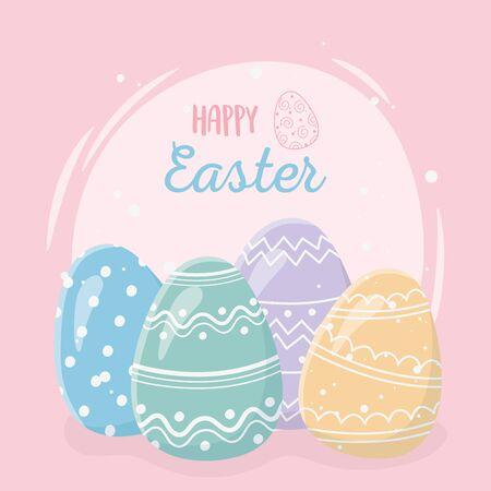 happy easter day greeting card decorative colored eggs Ilustração