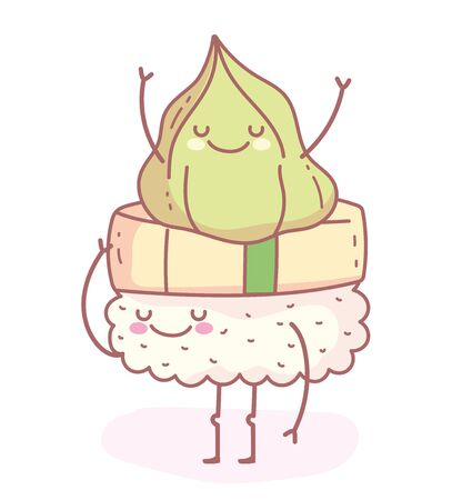 happy wasabi on sushi cartoon food cute Ilustração