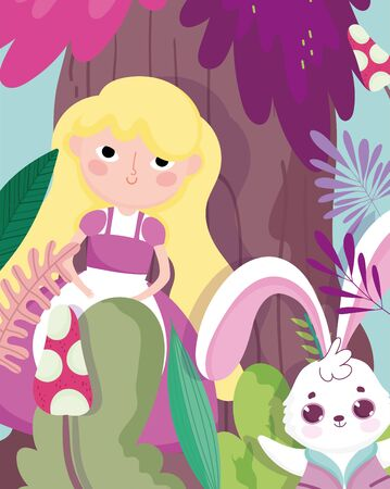cute girl and rabbit foliage forest vegetation cartoon, children character vector illustration