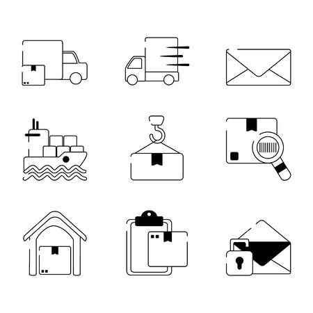 delivery cargo shipping distribution logistic icons set vector illustration line style icon