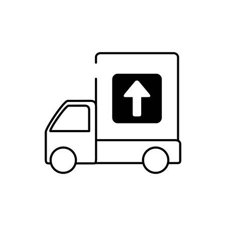 truck merchandise transport cargo delivery vector illustration line style icon