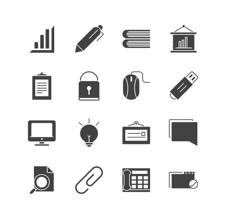 office supply equipment stationery icon set vector illustration silhouette on white background Ilustração