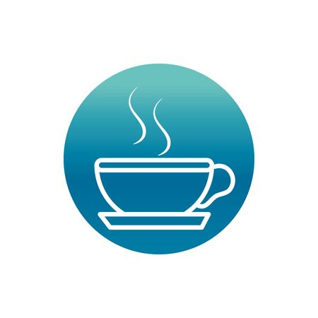 office hot coffee cup breakfast vector illustration block gradient style icon