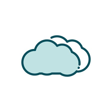 cloud computing social media line and fill vector illustration Ilustração