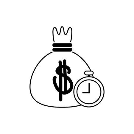 bag money stopwatch timer business financial line style icon vector illustration