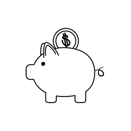 piggy bank with coin money business financial line style icon vector illustration Ilustracja