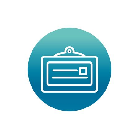 office id card personal stationery supply vector illustration block gradient style icon