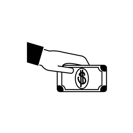 hand giving bill money business financial line style icon