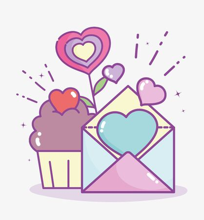 happy valentines day, mail card and cupcake hearts love flower Ilustração