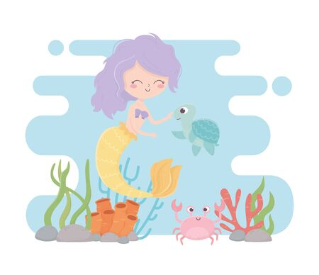 mermaid turtle crab coral reef cartoon the sea