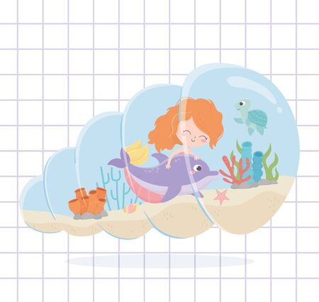mermaid dolphin turtle coral reef cartoon under the sea background