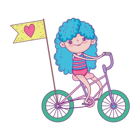 happy childrens day, little riding bike with flag love cartoon