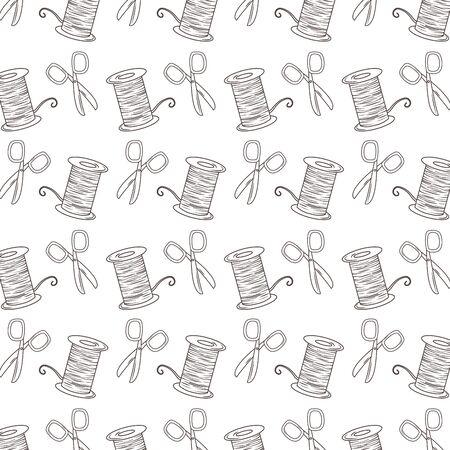 Scissor and thread background of tailor shop design Vettoriali