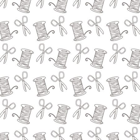 Scissor and thread background of tailor shop design