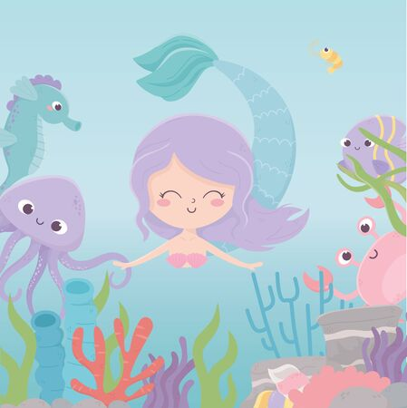 mermaid octopus crab seahorse reef coral cartoon under the sea vector illustration 向量圖像