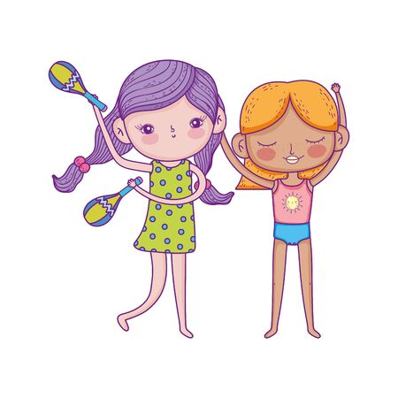 happy childrens day, girls with maraca music cartoon characters vector illustration Banque d'images - 140741330
