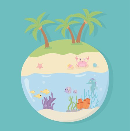 island crab beach sand seahorse starfish snail fishes under sea cartoon vector illustration
