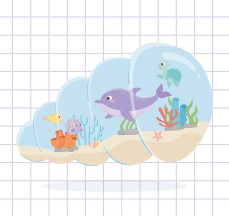 dolphin fishes turtle reef coral under the sea grid background vector illustration