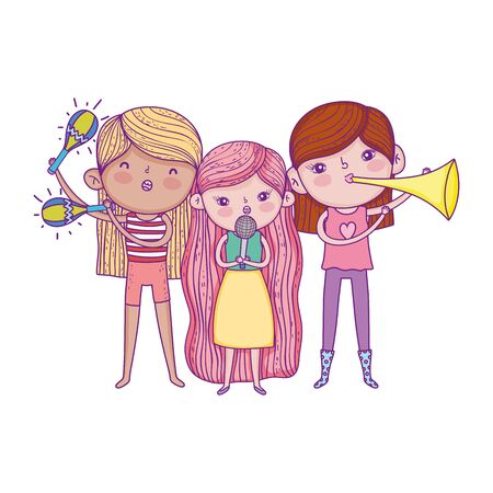 happy childrens day, band musical girls with microphone trumpet and maracas vector illustration Banque d'images - 140741505