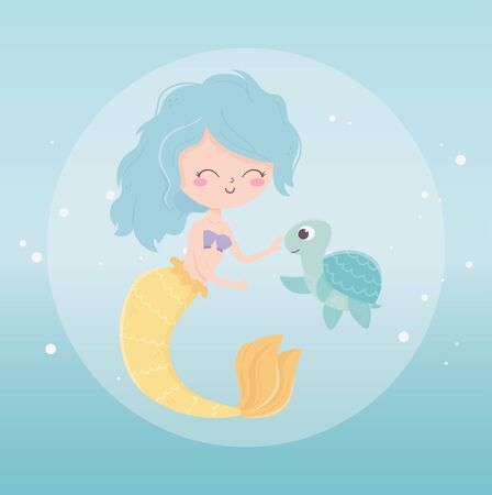 mermaid and turtle bubbles cartoon under the sea vector illustration 向量圖像