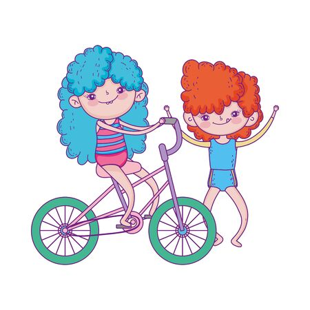 happy childrens day, girl riding bicycle and boy outdoor cartoon Ilustracja