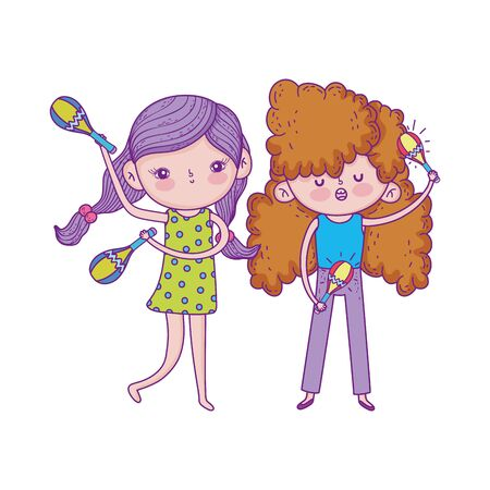 happy childrens day, girls with microphone and maraca music outdoor vector illustration Banque d'images - 140741556
