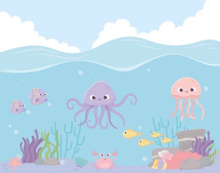 octopus jellyfish fishes crab reef coral under the sea vector illustration