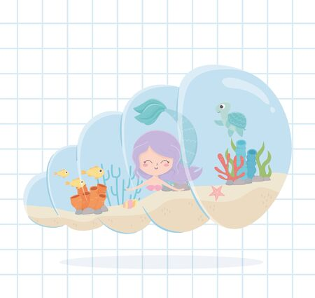 mermaid fishes turtle starfish cartoon under the sea grid background vector illustration