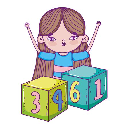 happy childrens day, little girl playing with cubes cartoon