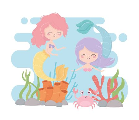 mermaids and crab reef coral cartoon under the sea