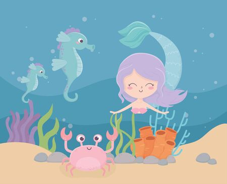 mermaid seahorses crab coral sand cartoon under the sea vector illustration