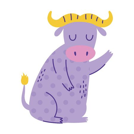ox sitting character animal cartoon doodle color vector illustration Ilustrace