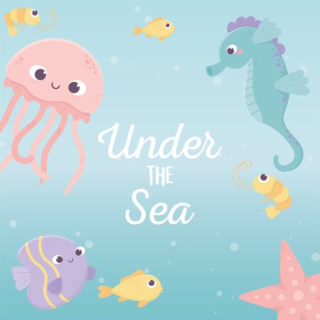 jellyfish fishes seahorse starfish life cartoon under the sea vector illustration 向量圖像