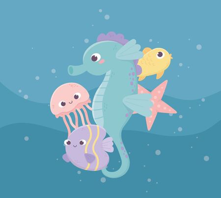 seahorse jellyfish fishes starfish bubbles life cartoon under the sea vector illustration