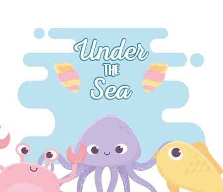 fish octopus crab snails life cartoon under the sea vector illustration 向量圖像