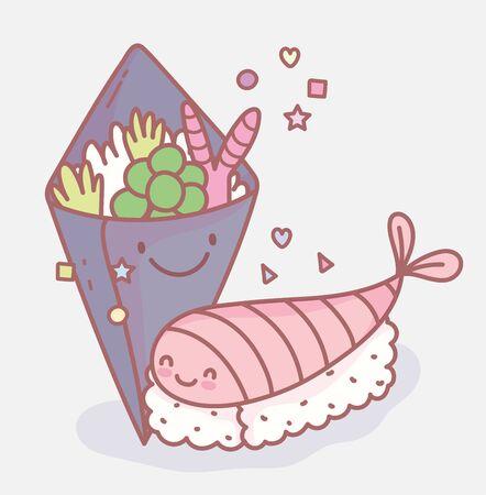 salad and sushi japanese menu restaurant food cute vector illustration Vecteurs